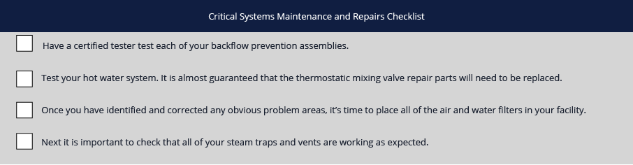 Critical Maintenance Checklist
